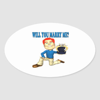 Will You Marry Me 7 Oval Sticker