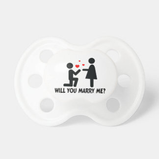 Will You Marry Me Bended Knee Man & Woman Baby Pacifiers