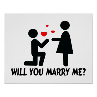 Will You Marry Me Bended Knee Man & Woman Print