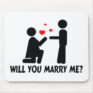 Will You Marry Me Bended Knee Woman & Man Mouse Pad