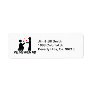 Will You Marry Me Bended Knee Woman & Man Return Address Label