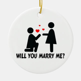 Will You Marry Me Bended Knee Woman & Woman Ceramic Ornament