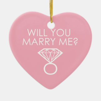 Will You Marry Me? Diamond Ring Ceramic Heart Decoration