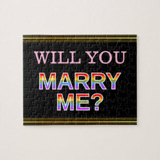 """""""WILL YOU MARRY ME?"""" LGB Marriage Proposal Jigsaw Puzzle"""