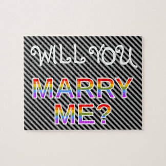 """WILL YOU MARRY ME?"" LGBQ Marriage Proposal Jigsaw Puzzle"