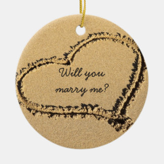 Will You Marry Me | Marriage Proposal Beach Heart Round Ceramic Decoration