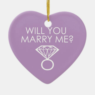 Will You Marry Me? Proposal Diamond Ring Ceramic Heart Decoration