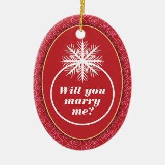Will You Marry Me? Red Heart Pattern Ceramic Ornament