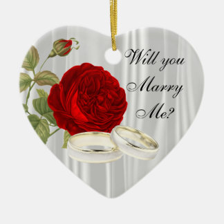 Will You Marry Me? | Red Roses Ceramic Ornament