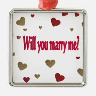 Will you marry me? Silver-Colored square decoration