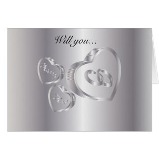Will You Marry Me   Silver Greeting Card