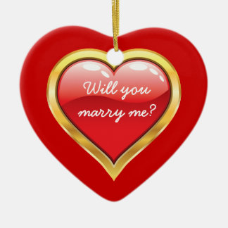 Will you marry me? Valentine's Day Ceramic Ornament