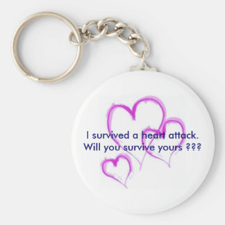 Will you survive your heart attack ??? basic round button key ring