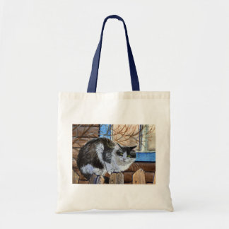 Willage Cat sitting on the fence Budget Tote Bag