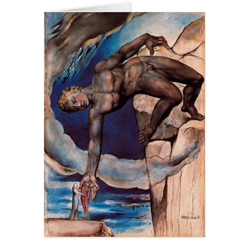 William Blake- Antaeus setting down Dante & Virgil Card