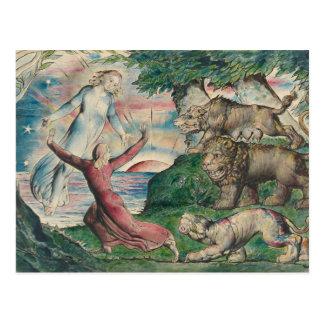 William Blake -Dante Running from the three Beasts Postcard