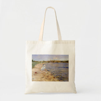 William Chase- Beach Scene- Morning at Canoe Place Tote Bags