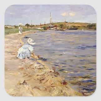 William Chase- Beach Scene- Morning at Canoe Place Square Sticker
