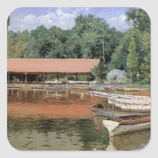 William Chase- Boat House, Prospect Park Square Stickers