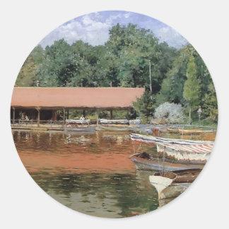 William Chase- Boat House, Prospect Park Round Sticker
