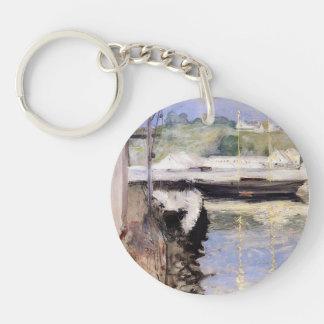 William Chase- Fish Sheds and Schooner, Gloucester Single-Sided Round Acrylic Key Ring