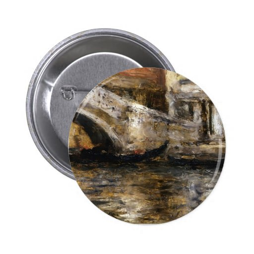 William Chase- Gondolas along Venetian Canal Pinback Button
