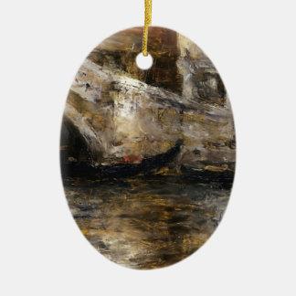 William Chase- Gondolas along Venetian Canal Christmas Ornament