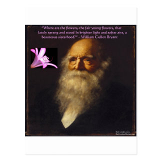 William Cullen Bryant Flower Poem Postcard