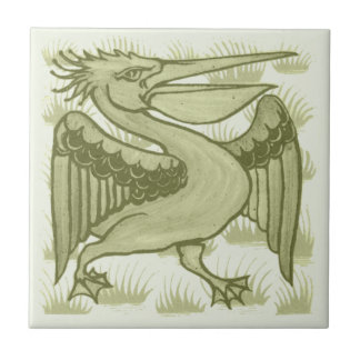 William De Morgan Green Pelican Animal Tile