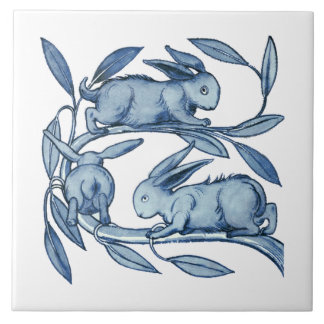 William De Morgan Rabbits Ceramics Large Square Tile