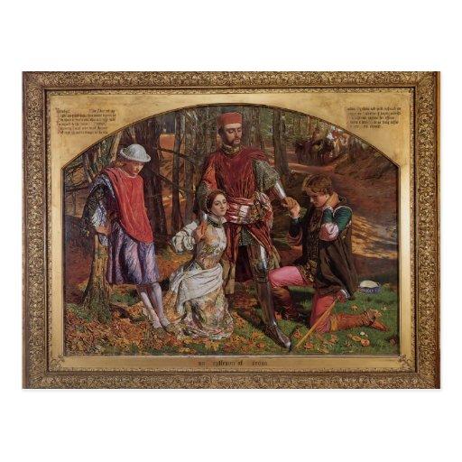 William Hunt- Valentine Rescuing Silvia,Proteus Postcard