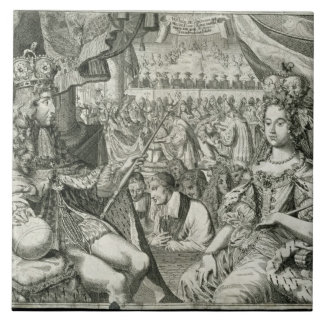 William III (1650-1702) and Mary II (1662-94) King Large Square Tile