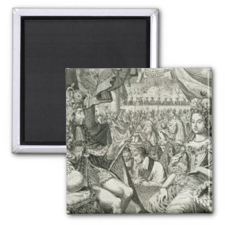 William III (1650-1702) and Mary II (1662-94) King Square Magnet