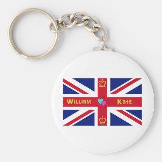 William Kate British Flag Key Chain
