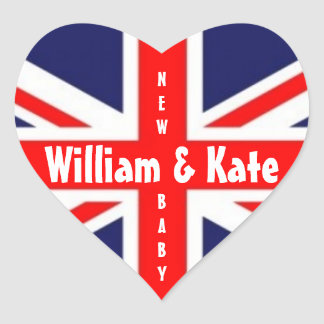 William & Kate/New Baby-Union Jack Heart Heart Sticker