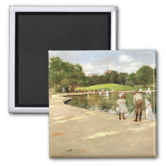 William Merritt Chase-The Lake for Miniature Yacht Square Magnet