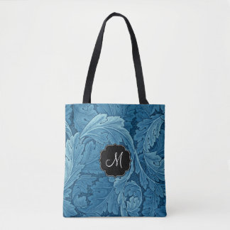 William Morris Acanthus with Monogram Tote Bag