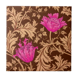 William Morris Anemone, Brown and Fuchsia Pink Tile