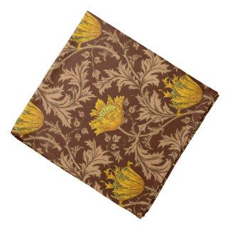 William Morris Anemone, Brown and Mustard Gold Bandana