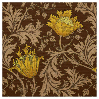 William Morris Anemone, Brown and Mustard Gold Fabric