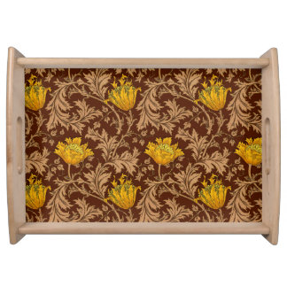 William Morris Anemone, Brown and Mustard Gold Serving Tray