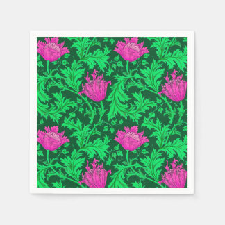 William Morris Anemone, Emerald Green and Fuchsia Paper Napkins