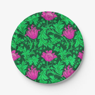 William Morris Anemone, Emerald Green and Fuchsia Paper Plate