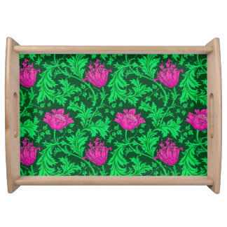 William Morris Anemone, Emerald Green and Fuchsia Serving Tray