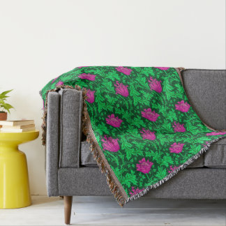 William Morris Anemone, Emerald Green and Fuchsia Throw Blanket