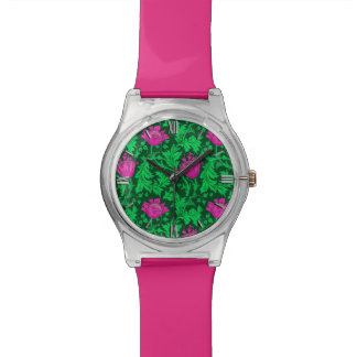 William Morris Anemone, Emerald Green and Fuchsia Watch