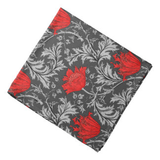 William Morris Anemone, Gray / Grey and Red Bandana