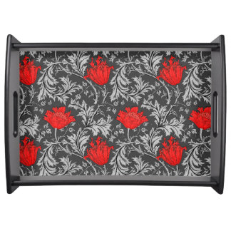 William Morris Anemone, Gray / Grey and Red Serving Tray