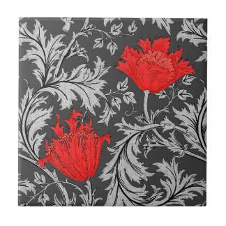 William Morris Anemone, Gray / Grey and Red Tile