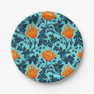 William Morris Anemone, Indigo Blue and Coral Paper Plate